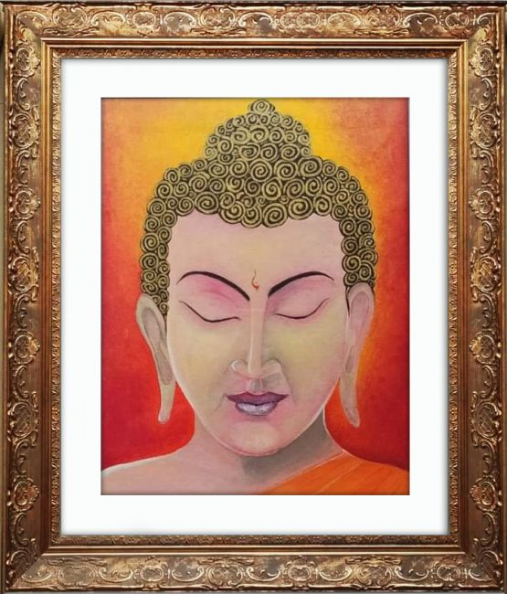 Golden Buddha Canvas Painting With Frame