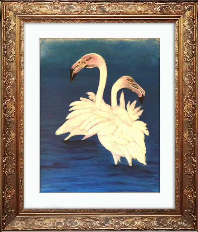 Acrylics on canvas, Original painting - Flamingo Canvas Painting With Frame