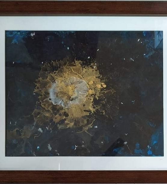Fluid Acrylic Original Painting - FIRE ON WATER Canvas Painting With Frame